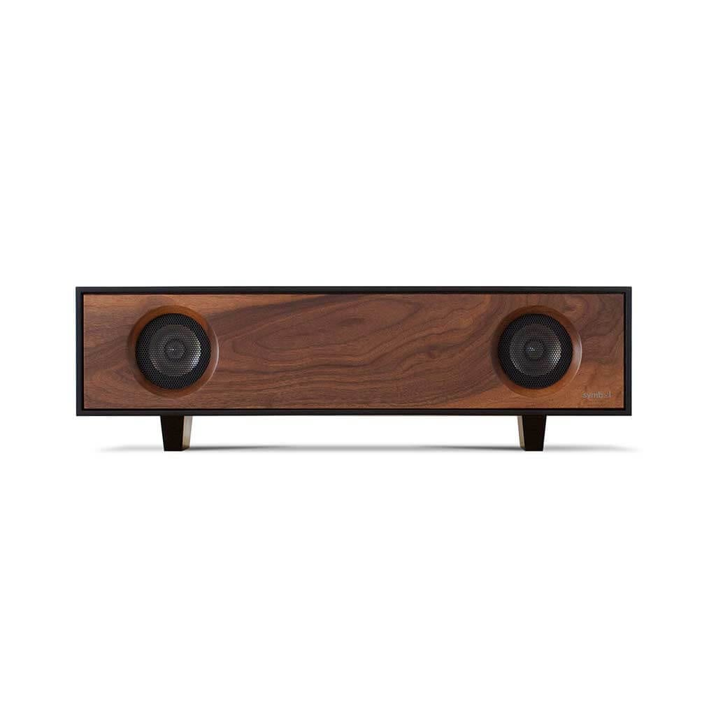 Tabletop Hifi speaker in black walnut. Crafted with North American hardwoods. It sits at 28.75 inches wide and 9.5 inches tall and weighs 30 lbs.